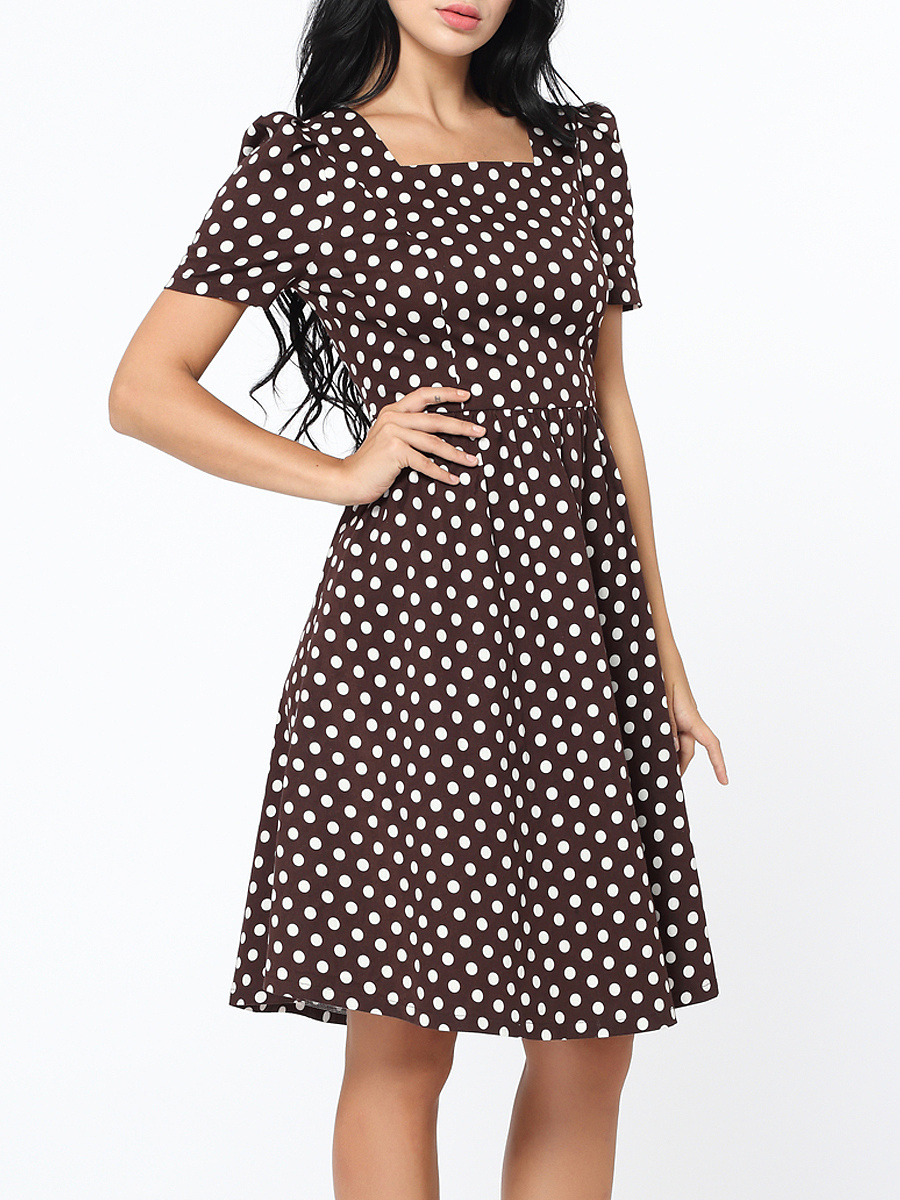 Square Neck Polka Dot Vintage Skater Dress