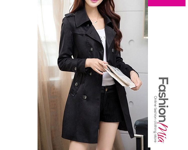 gender:women, hooded:no, thickness:regular, brand_name:fashionmia, outerwear_type:trench coat, style:casual,fashion, material:cotton, collar&neckline:lapel, sleeve:long sleeve, more_details:belt,decorative button, pattern_type:plain, supplementary_matters:all dimensions are measured manually with a deviation of 2 to 4cm., occasion:basic,daily,date, season:autumn,spring, package_included:top*1, shoulderbustlengthsleeve length