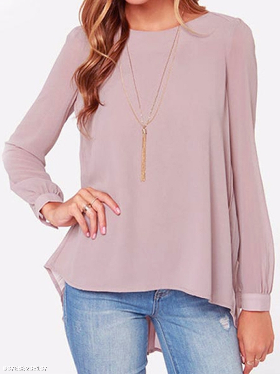 Awesome Round Neck Loose Fitting Plain Long-Sleeve-T-Shirts