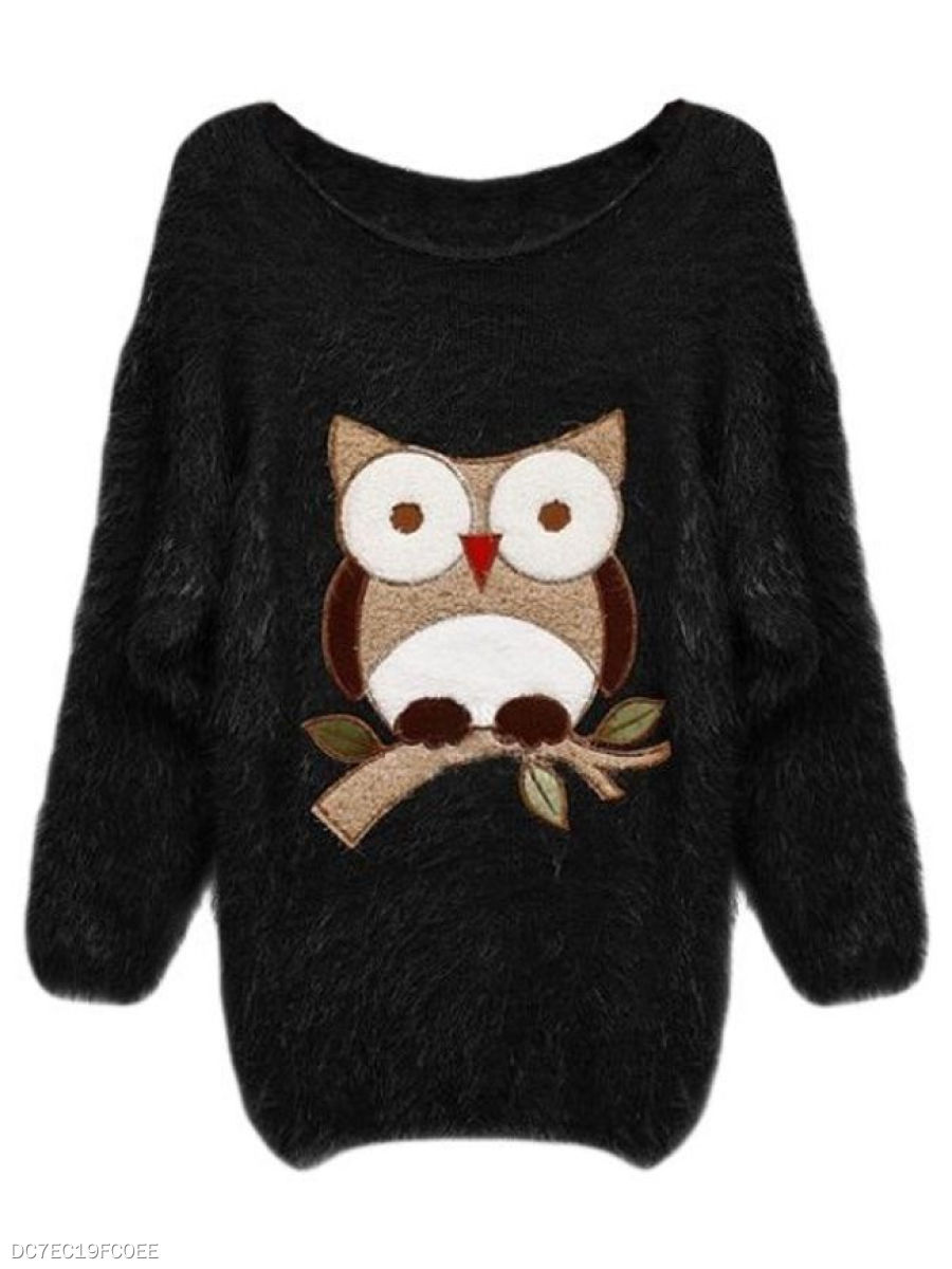 Round Neck  Owl Animal Printed  Long Sleeve Sweaters Pullover