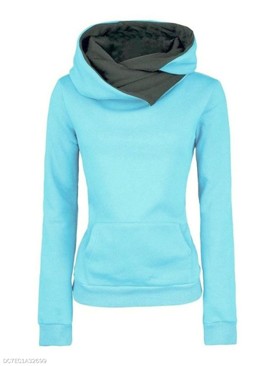 Hooded  Kangaroo Pocket  Plain  Long Sleeve Hoodies