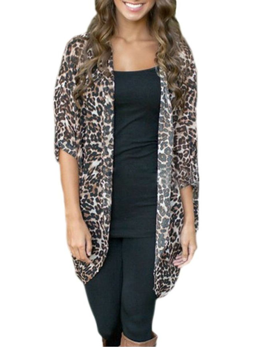 Leopard Printed Attractive Collarless Cardigan