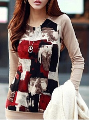 Printed Fancy Round Ink Printing Neck Long-Sleeve-T-Shirts