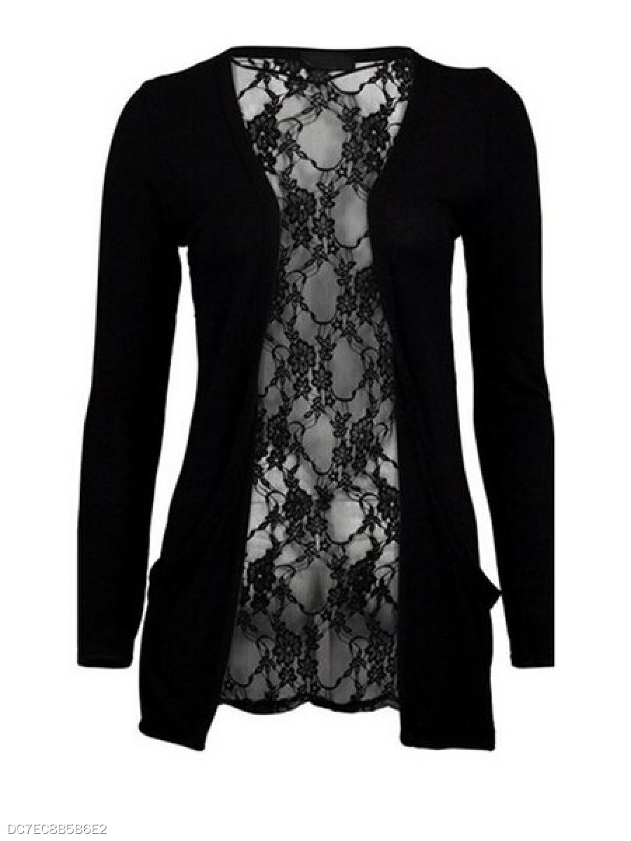 Stunning Collarless Lace Patchwork Plain Cardigan