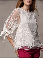 Autumn Spring  Mesh Polyester  Women  Round Neck  See-Through  Embroidery  Three-Quarter Sleeve Blouses
