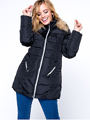 Hooded Slit Pocket Zips Quilted Plain Padded Coat