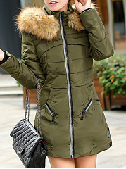 Hooded  Slit Pocket Zips  Quilted  Plain  Long Sleeve Coats