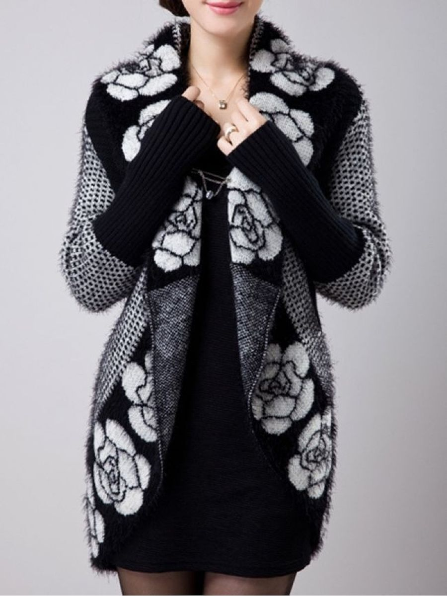 Attractive Collarless Printed Cardigan