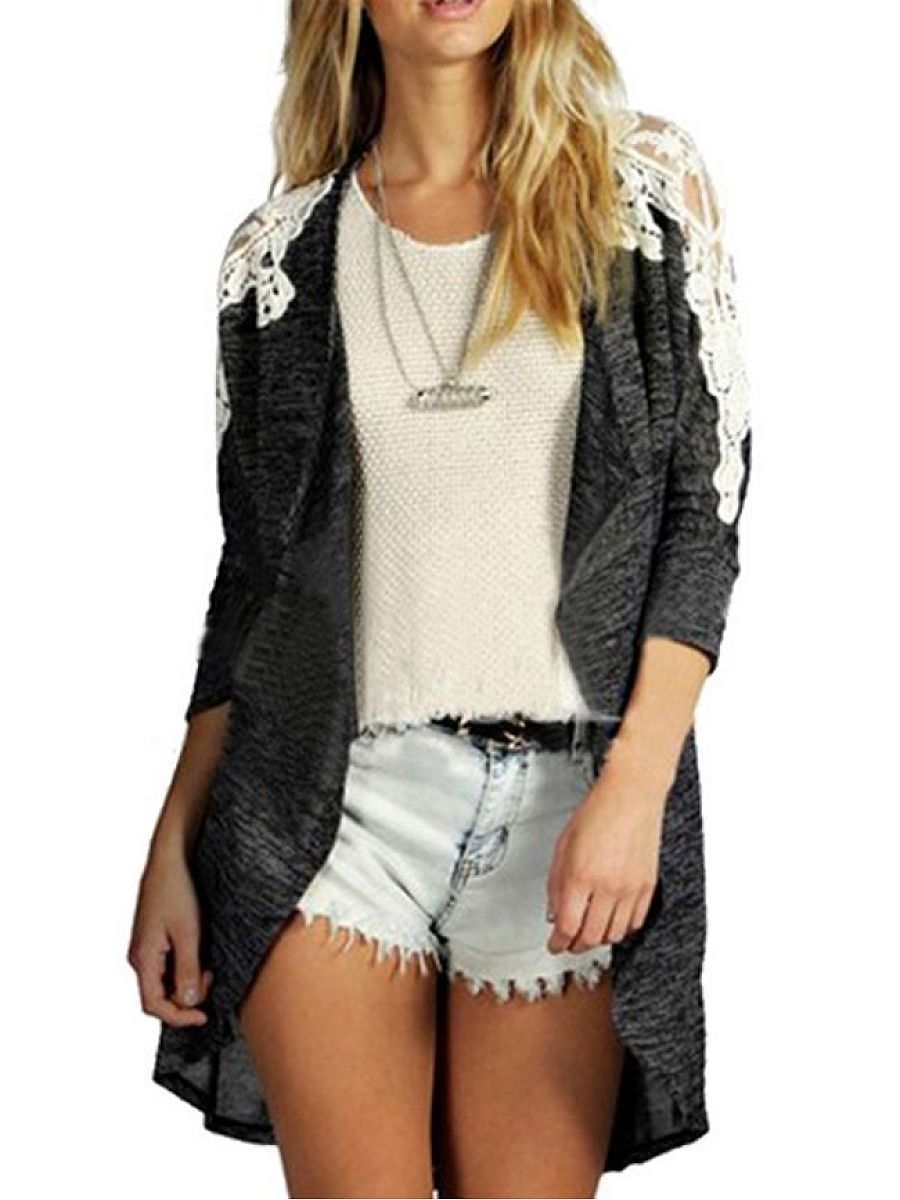 Charming Hollow Out Patchwork Cardigan