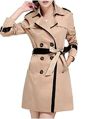 Chic Lapel Breasted With Pockets Trench-Coat