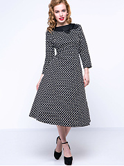 Vintage Polka Dot Bowknot Skater Dress
