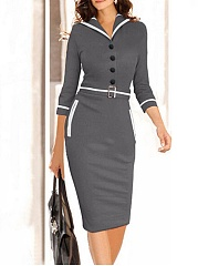 Patchwork Lapel Neck Bodycon-Dress With Decorative Buttons