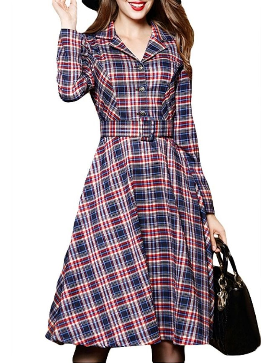 Plaid Printed Colorful Lapel Trench-Coats