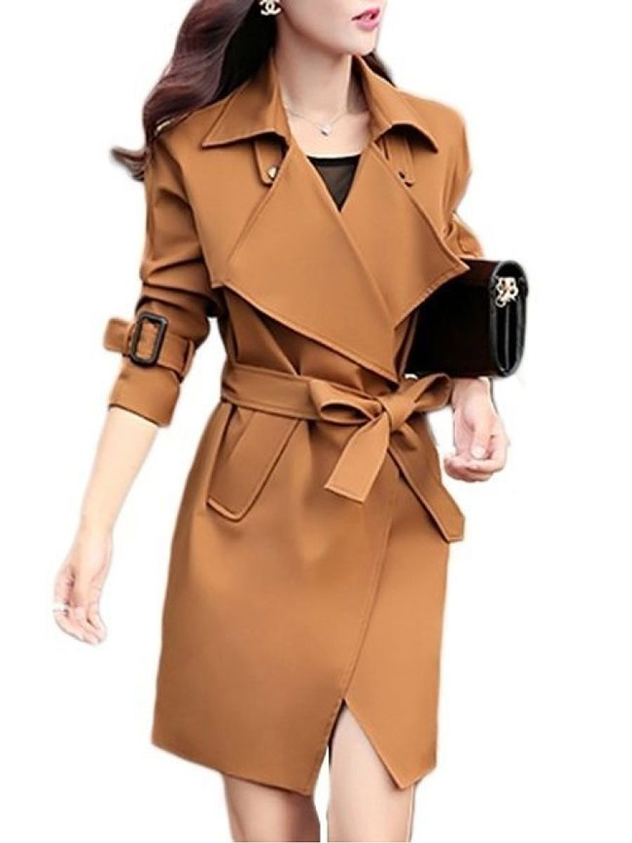 Fascinating Lapel Plain Trench-Coats