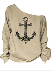 Autumn Spring  Cotton  Women  Ship Anchor Printed Long Sleeve T-Shirts