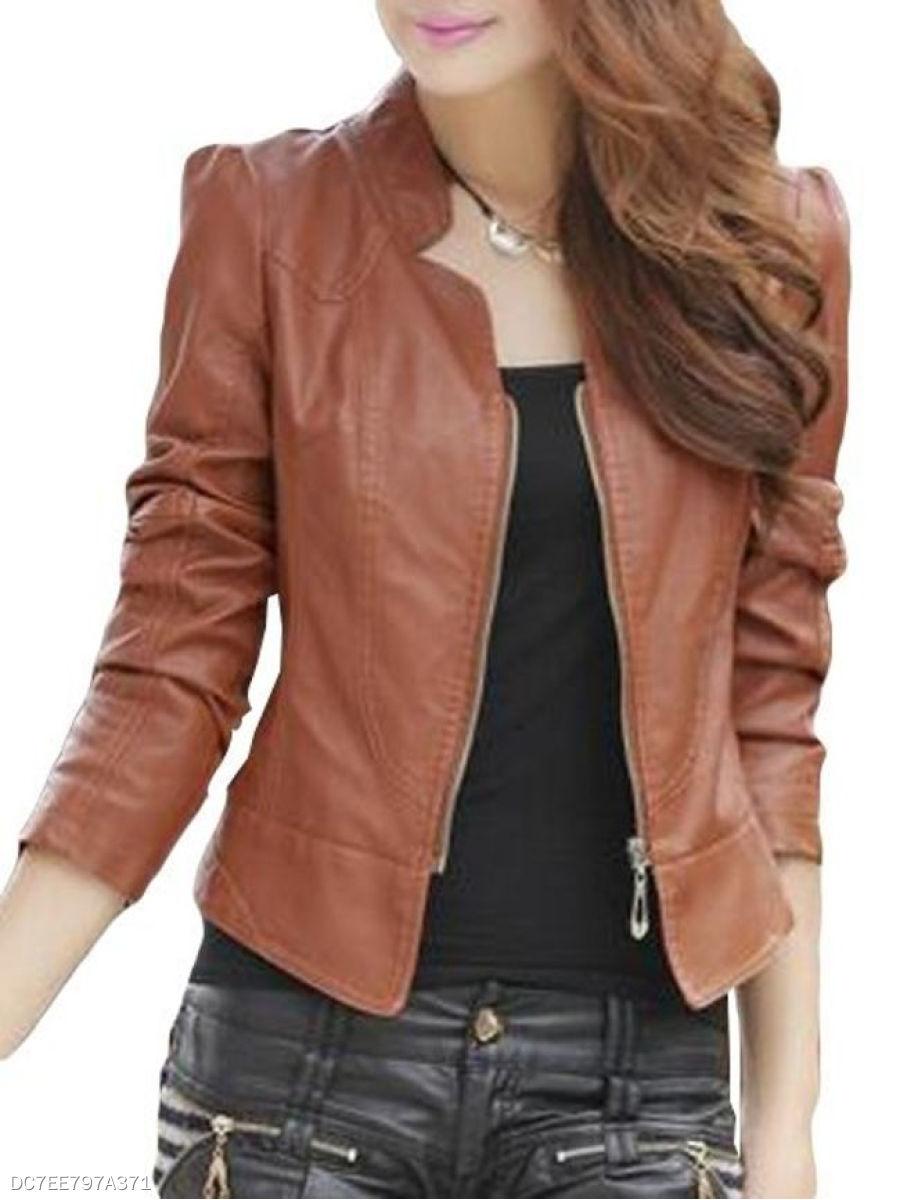 Stylish Plain Charming Band Collar Jacket