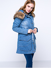 Denim Hooded Drawstring Flap Pocket Light Wash Coat