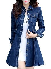 Stylish Flap Pockets Lapel Trench-Coat