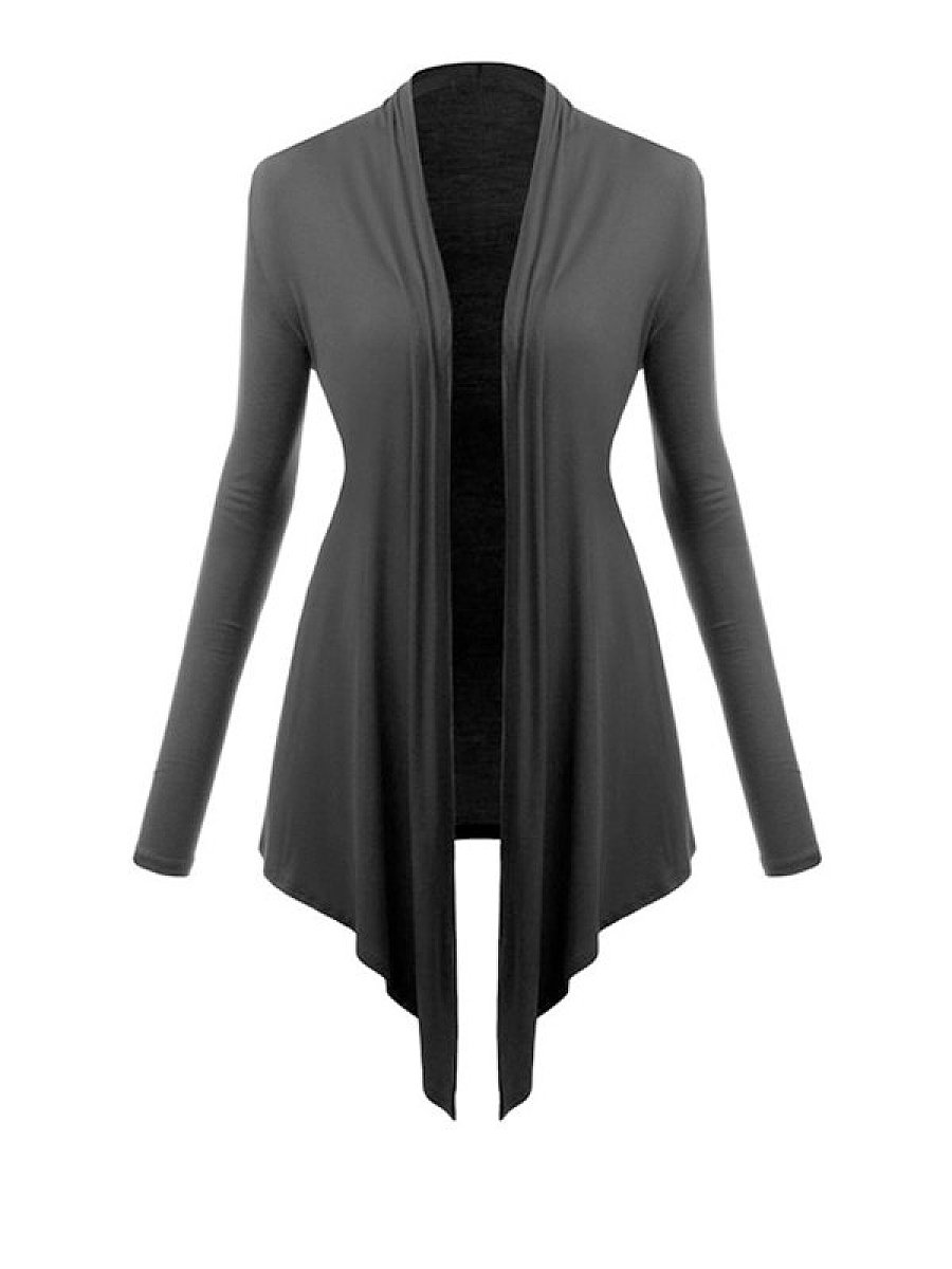 Irregular Hems Comfortable Collarless Cardigan