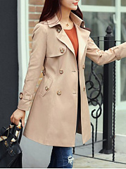 Breasted Exquisite Lapel Trench-Coats