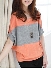 Spring Summer  Polyester  Women  Round Neck  Color Block  Batwing Sleeve Short Sleeve T-Shirts