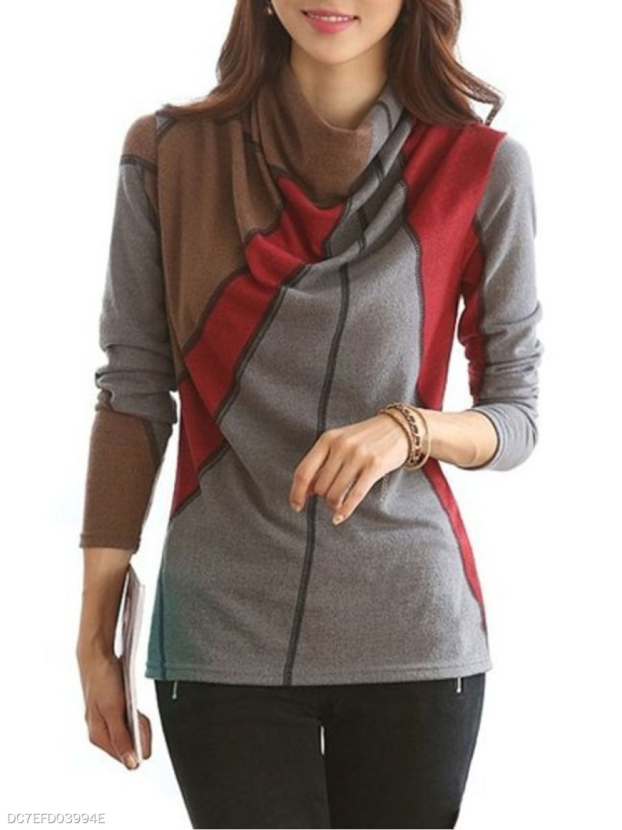 Autumn Spring  Cotton  Women  Cowl Neck  Color Block Long Sleeve T-Shirts