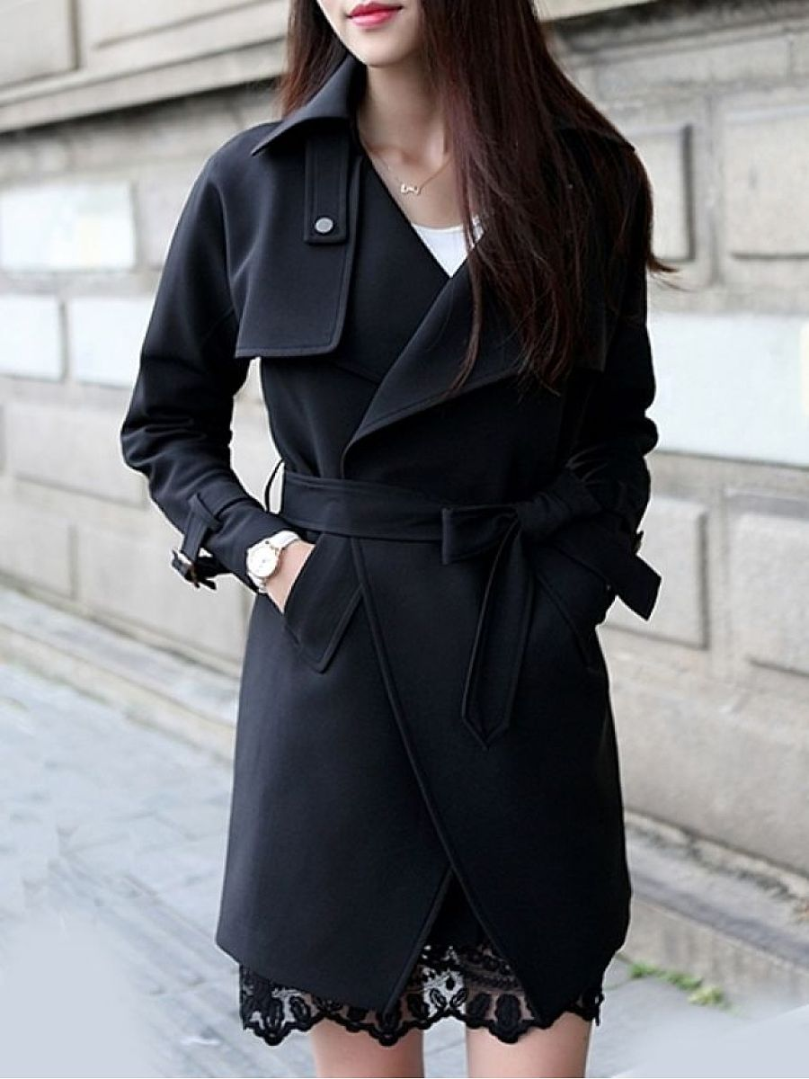 Absorbing Lapel With Pockets Plain Trench-Coats