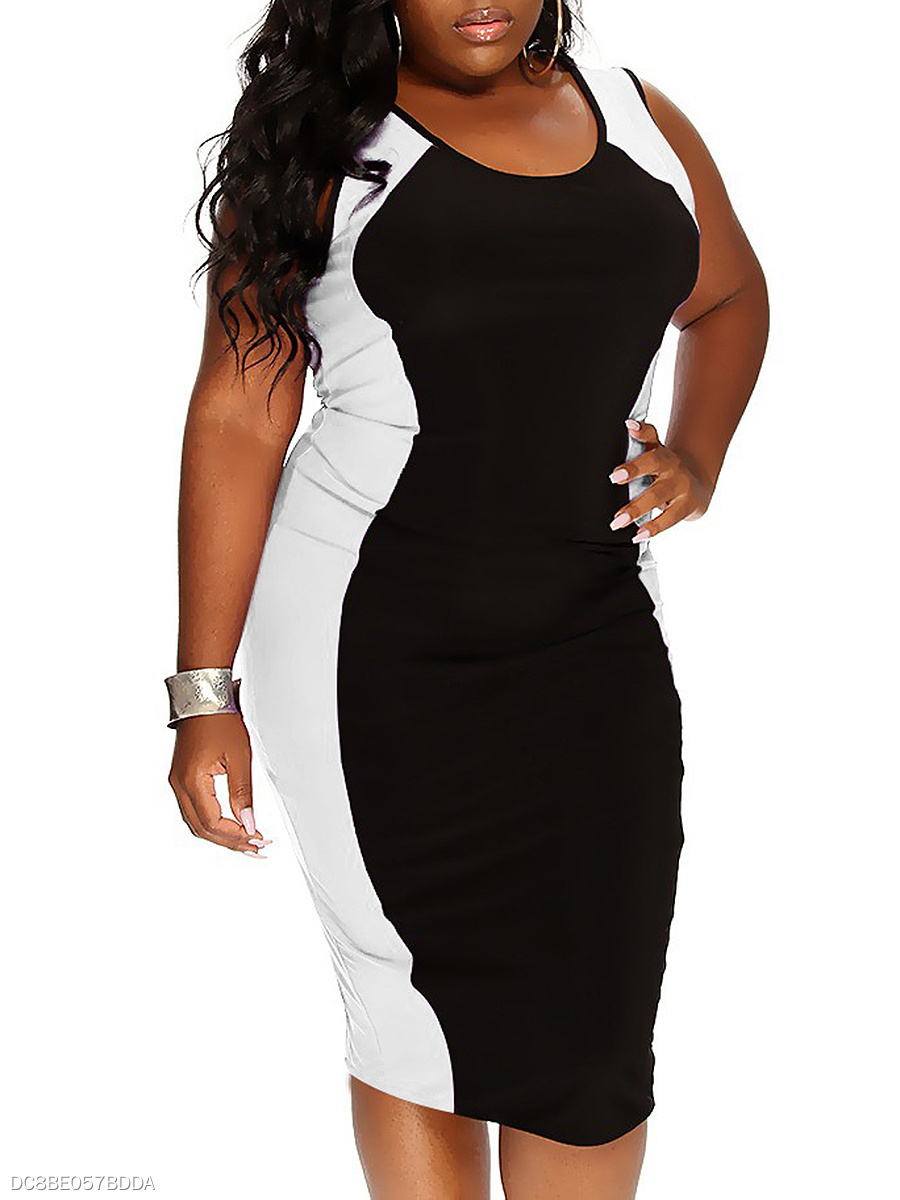 f7eb8c7a5645 Scoop Neck Color Block Plus Size Bodycon Dresses - fashionMia.com