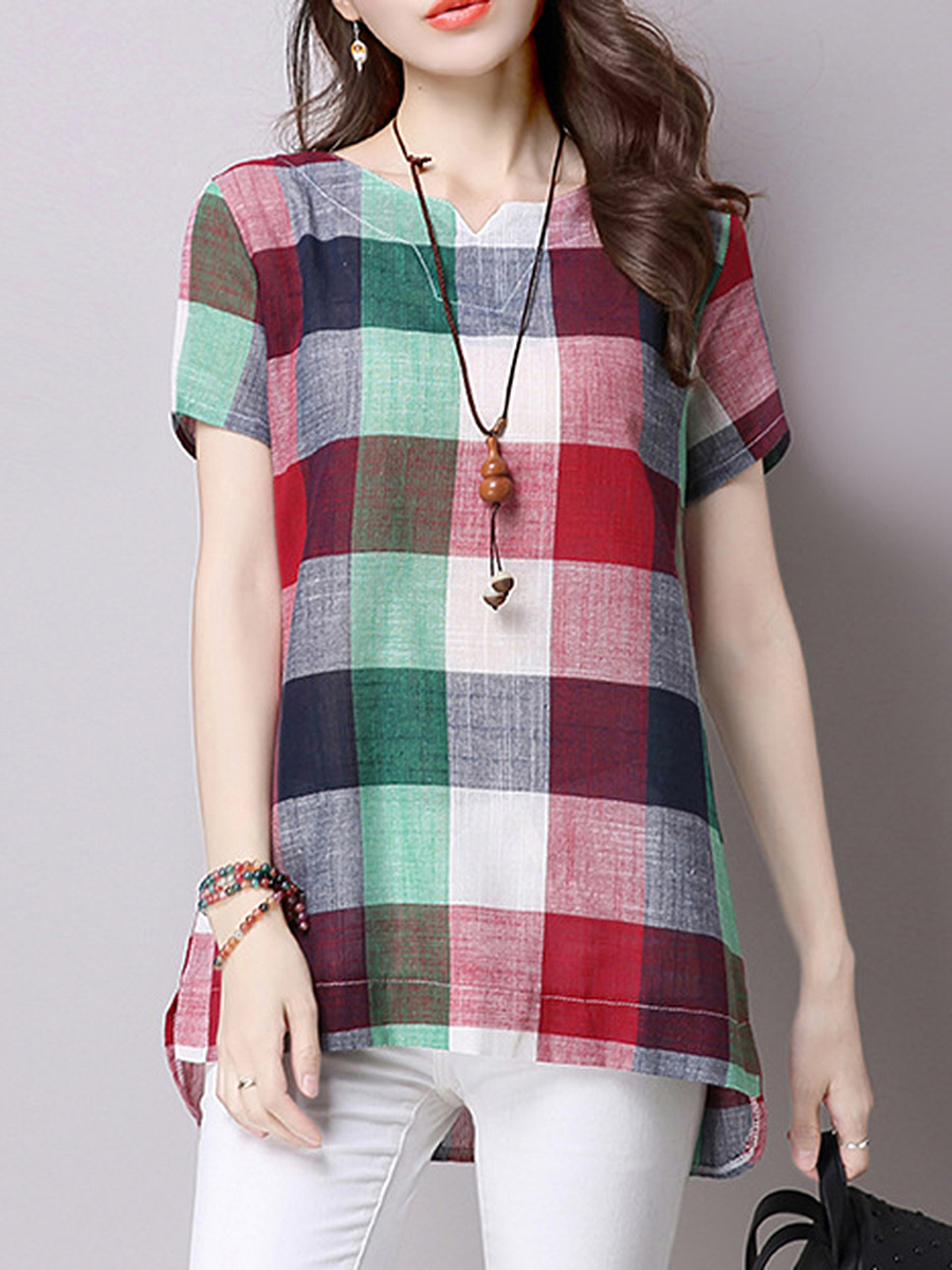 Split Neck Plaid Blouse