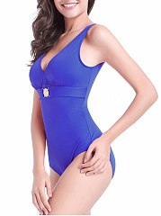 Plain Deep V-Neck Scoop Back One Piece