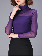 High Neck  See Through  Plain Long Sleeve T-Shirts