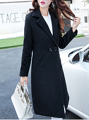 Lapel Plain Pocket Longline Woolen Coat