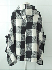Hooded  Double Breasted  Plaid  Long Sleeve Coats