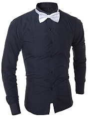 Turn Down Collar Men Shirts With Bow Tie