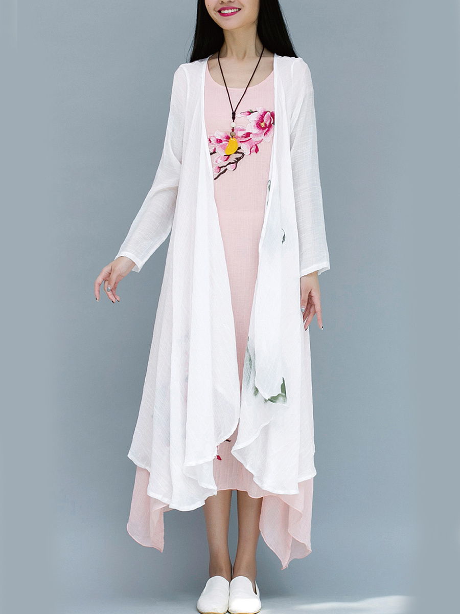 Collarless Printed Longline Cardigan