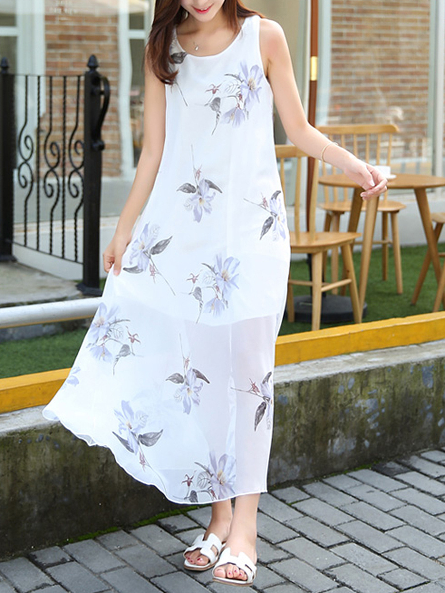 Hollow Out Round Neck Floral Printed Chiffon Maxi Dress