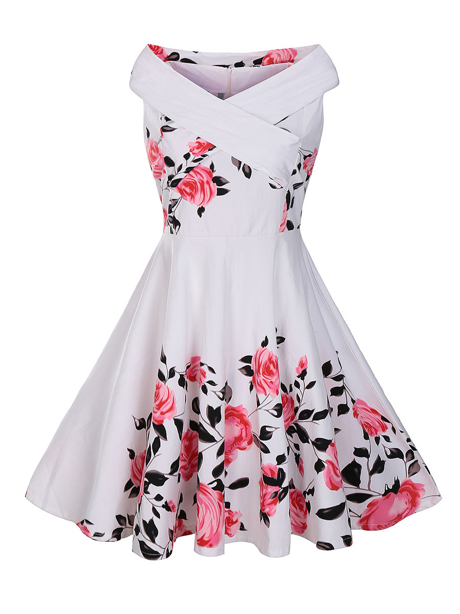 Exquisite V-Neck  Skater Dress In Floral Printed