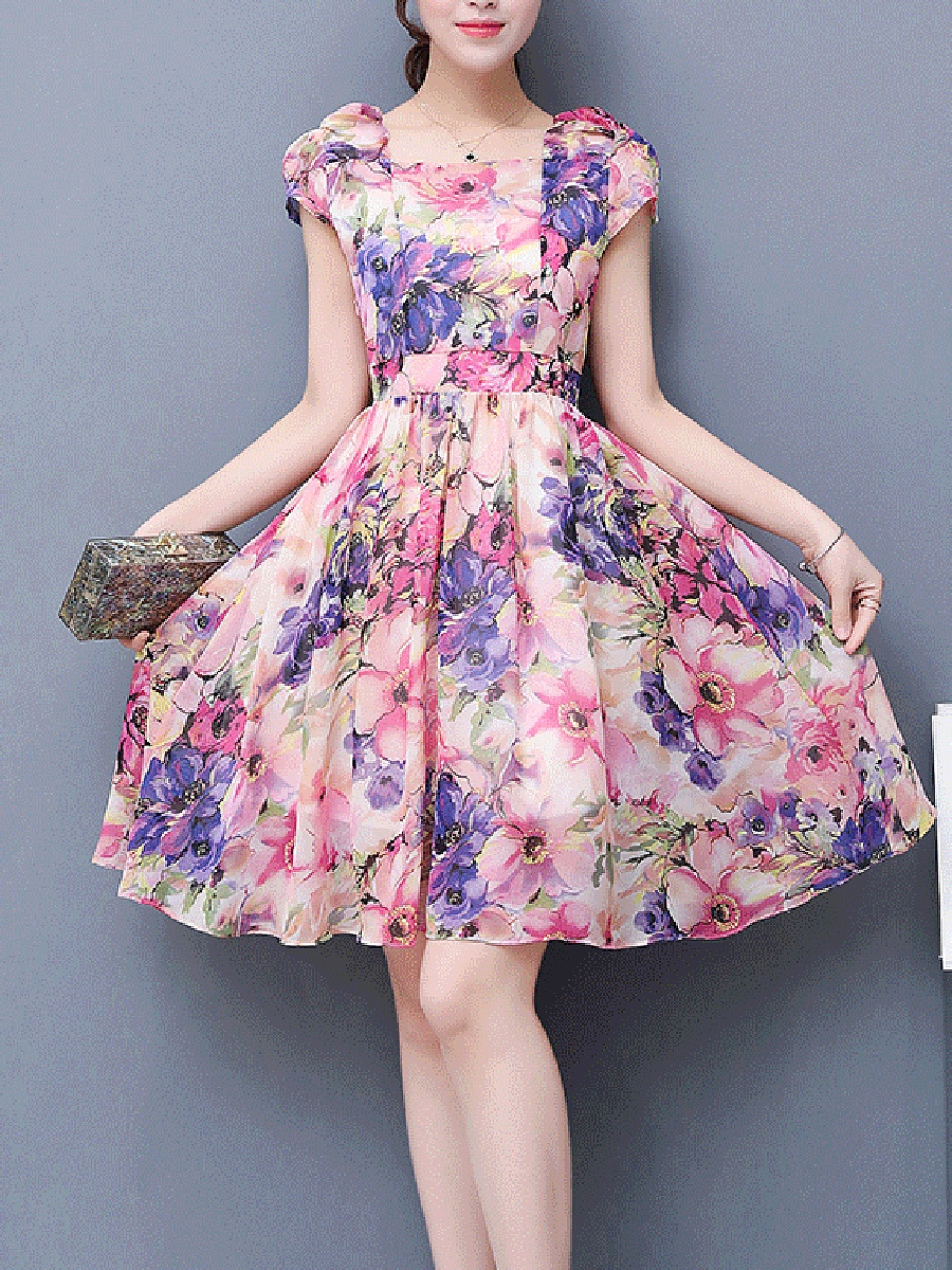 Square Neck Allover Floral Printed Chiffon Skater Dress