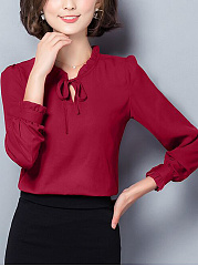 Office Tie Collar Plain Chiffon Blouse