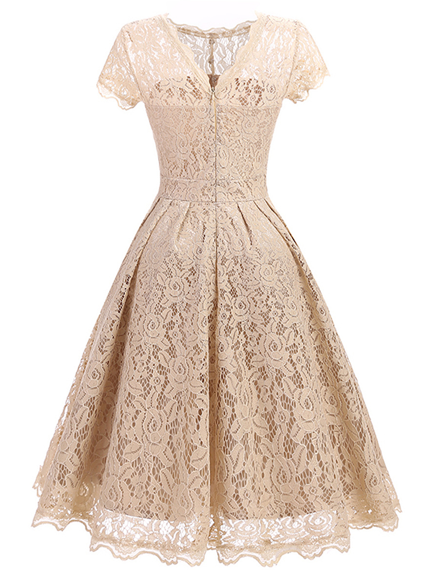 Classic Solid Lace Hollow Out Skater Dress
