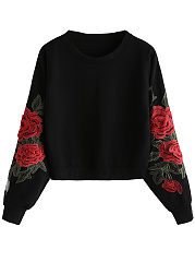 Crew Neck  Embroidery Sweatshirt
