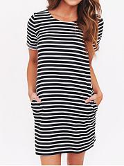Round Neck Printed Shift Dress ...