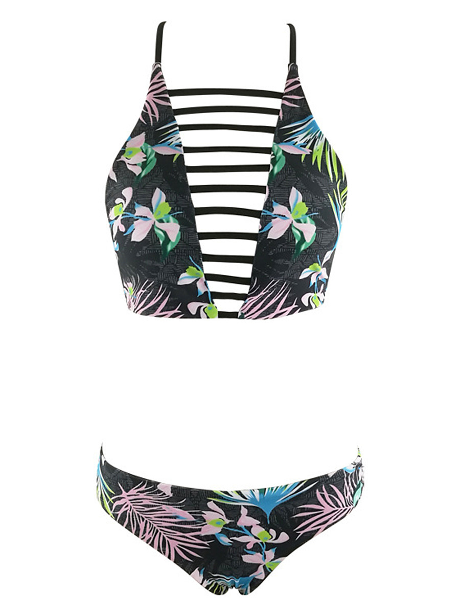 Spaghetti Strap  Floral Hollow Out Printed Swimwear