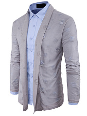 Distressed Lapel Plain Men'S Cardigan