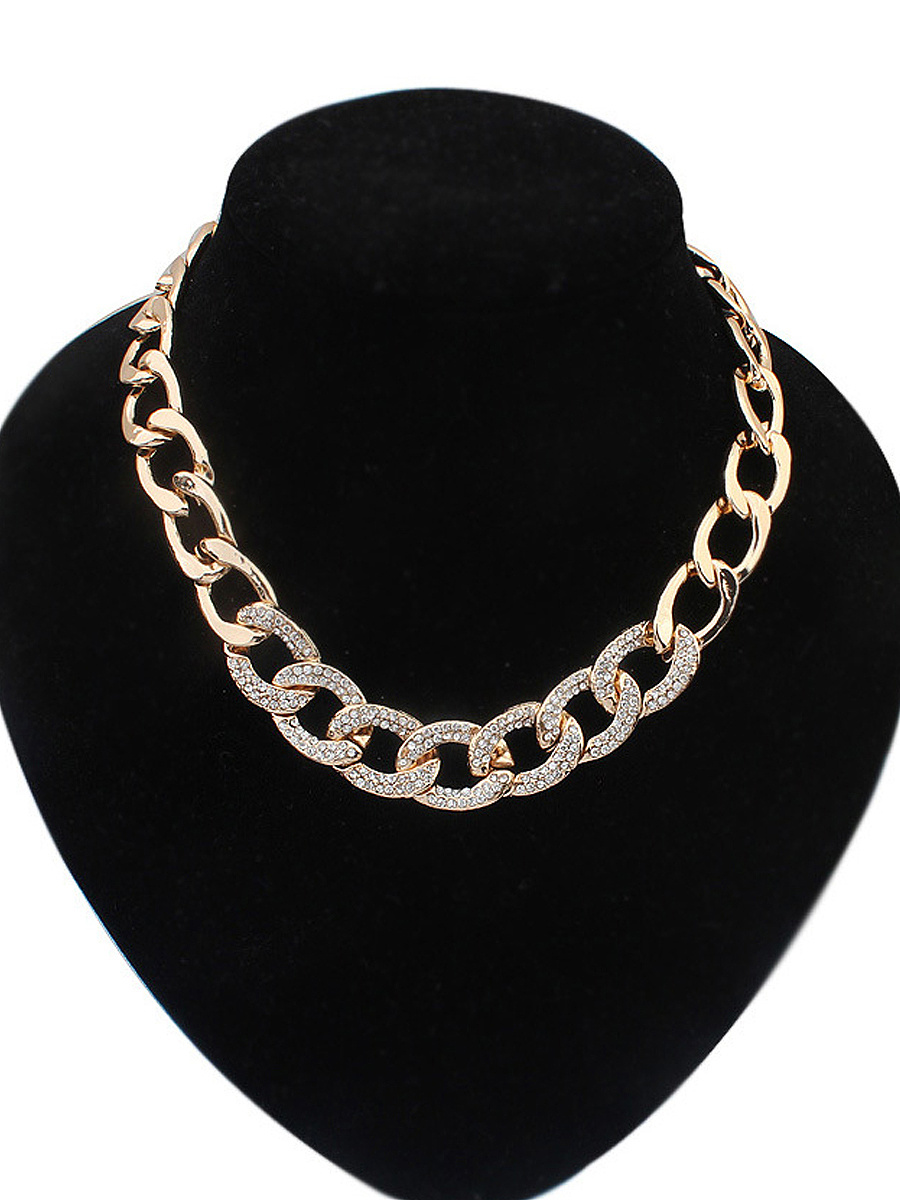 Rhinestone Chain Gold Necklace