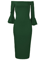 Off Shoulder Plain Bell Sleeve Midi Bodycon Dress