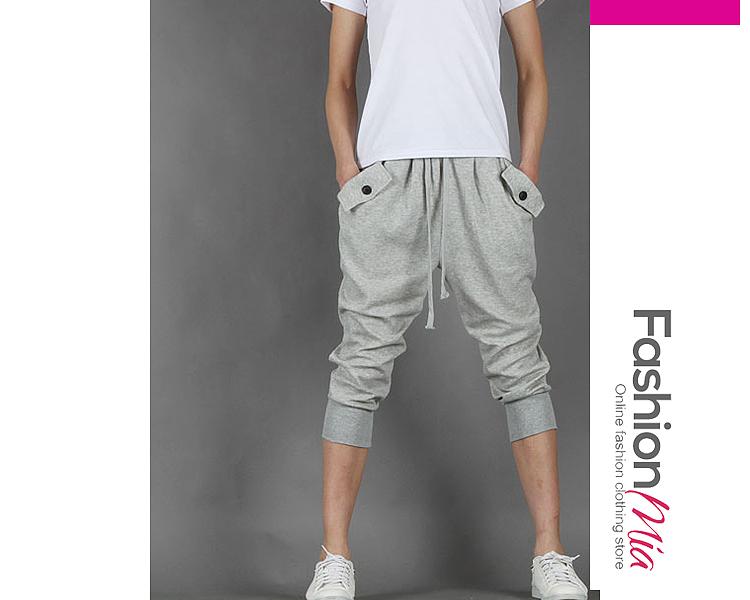 Drawstring Elastic Waist Flap Pocket  Plain  Slim-Leg  Mid-Rise Casual  Shorts