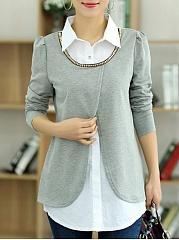 Button-Down-Collar-Asymmetric-Hem-Patchwork-Blouses