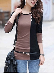 Color Block Decorative Button Long Sleeve T-Shirt