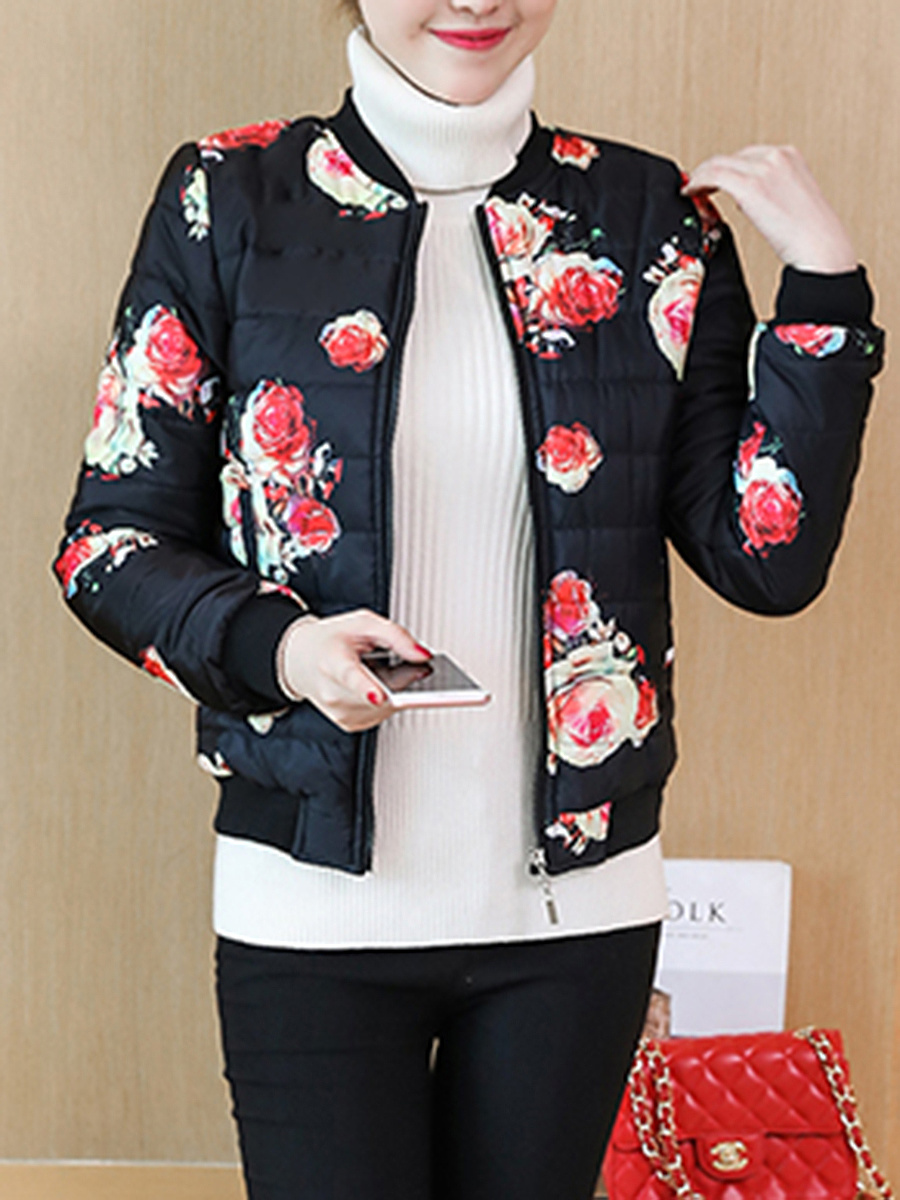 Band Collar Quilted Floral Printed Padded Coat